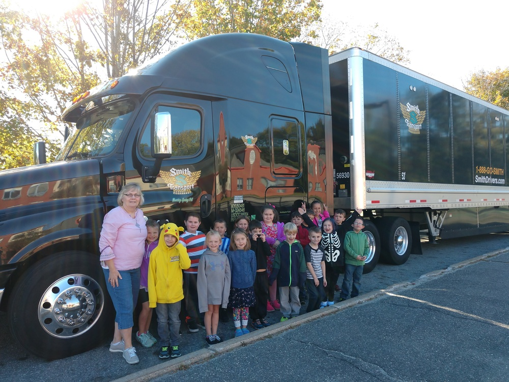Tractor Trailer Visits Mrs. Malcolm's Class