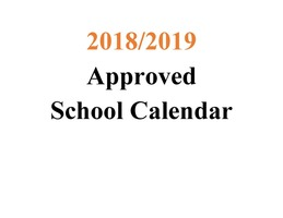 2018-2019 Approved School Calendar