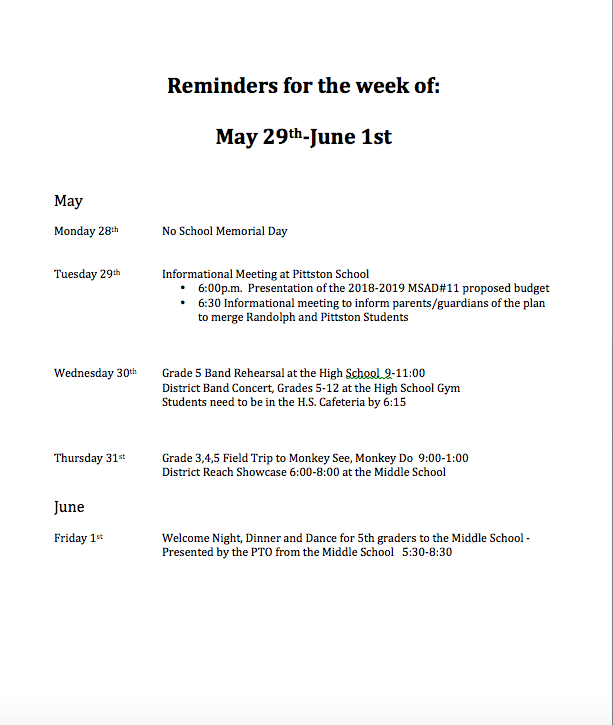 Reminders for the Week of May 28 - June 1st