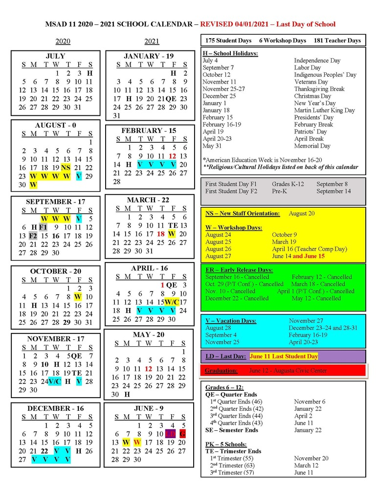 MSAD 11 2020-2021 School Calendar REVISED 4/1/2021