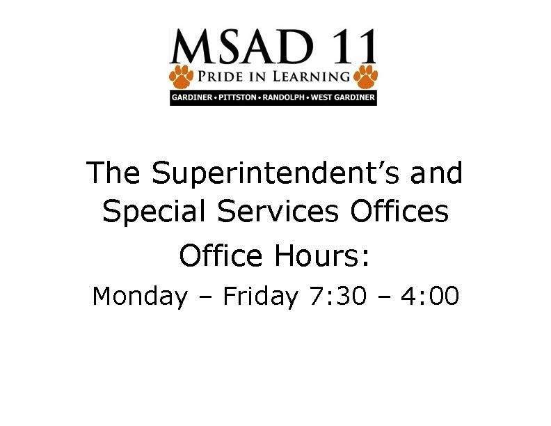 MSAD 11 Office Hours