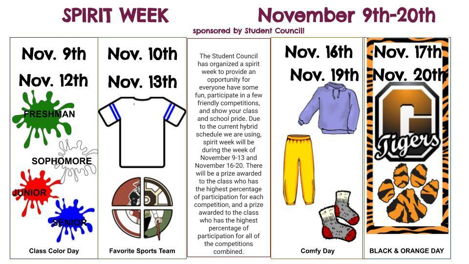 Spirit Week(s) November 9-20th