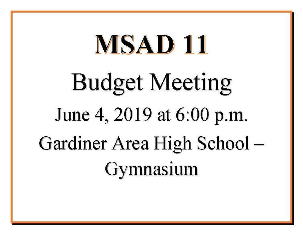 MSAD 11 Budget Meeting June 4, 2019
