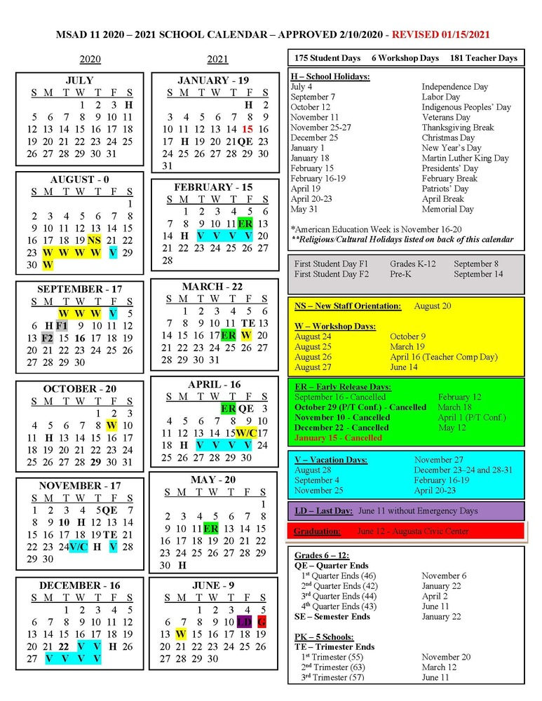 MSAD 11 Updated School Calendar 1/15/2021