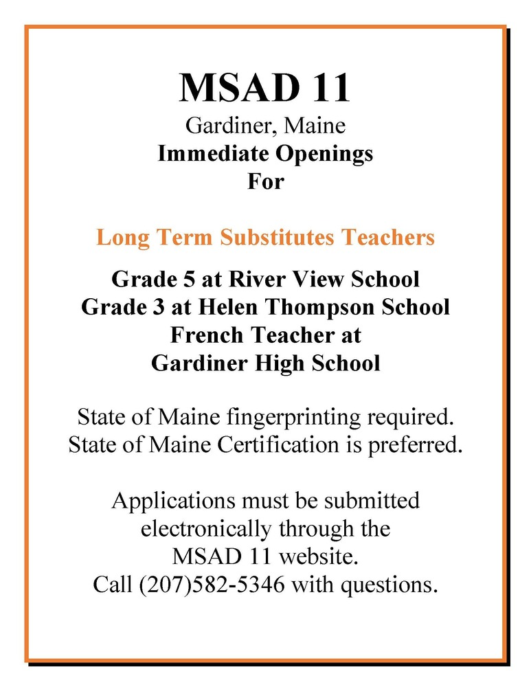 MSAD 11 Long Term Substitute Teacher Openings