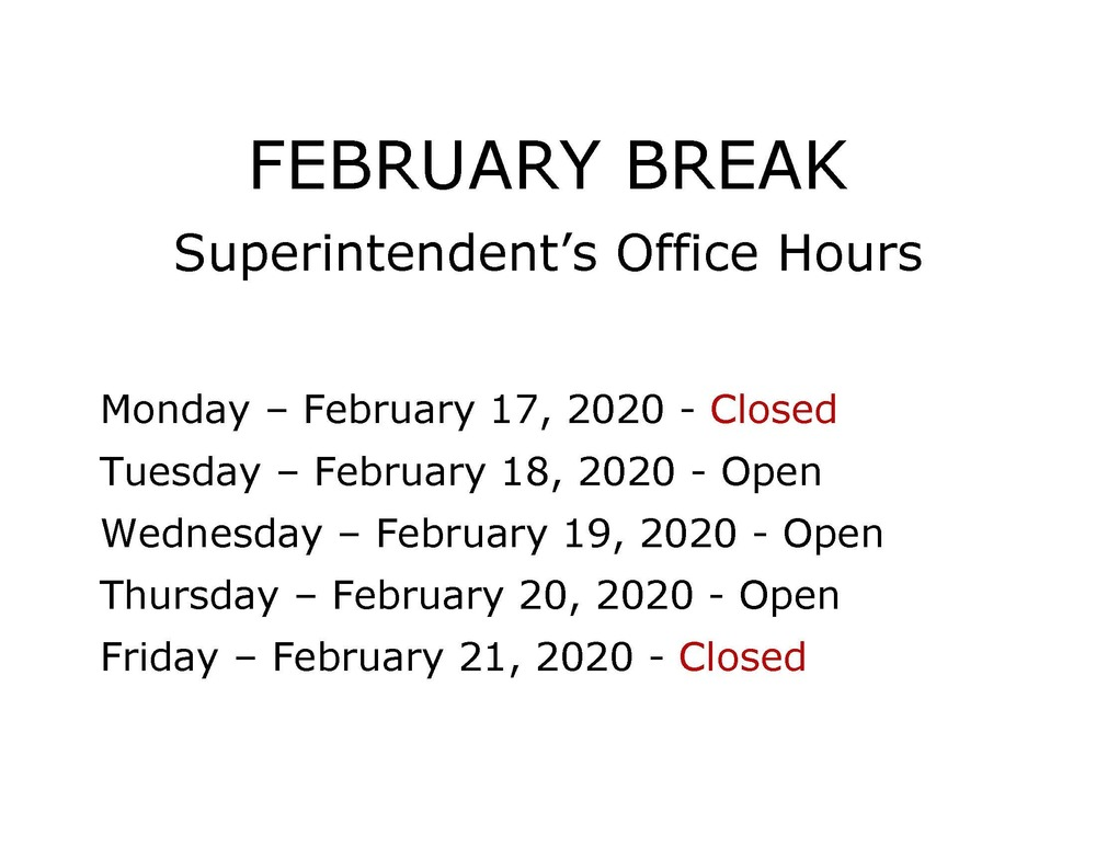Superintendent's Office Hours