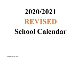 REVISED MSAD 11 2020-2021 School Calendar