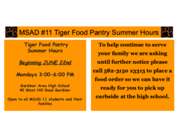 Tiger Pantry Summer Hours