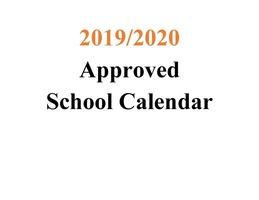 2019-2020 Approved MSAD 11 School Calendar