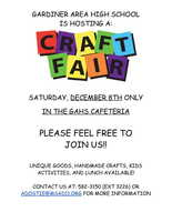 Craft Fair December 8th, GAHS Cafeteria