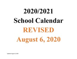 MSAD 11 2020-2021 School Calendar REVISED 8/6/2020
