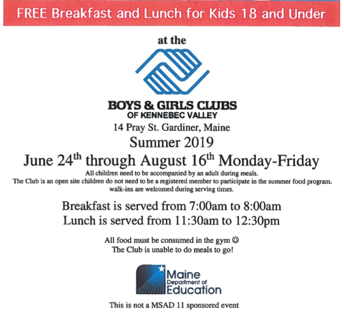 B&G Club Summer Food Program
