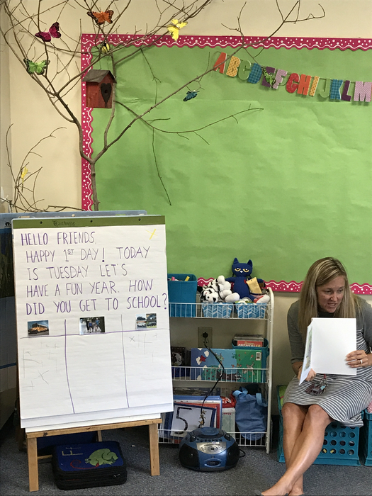 pre-k teacher welcomes students