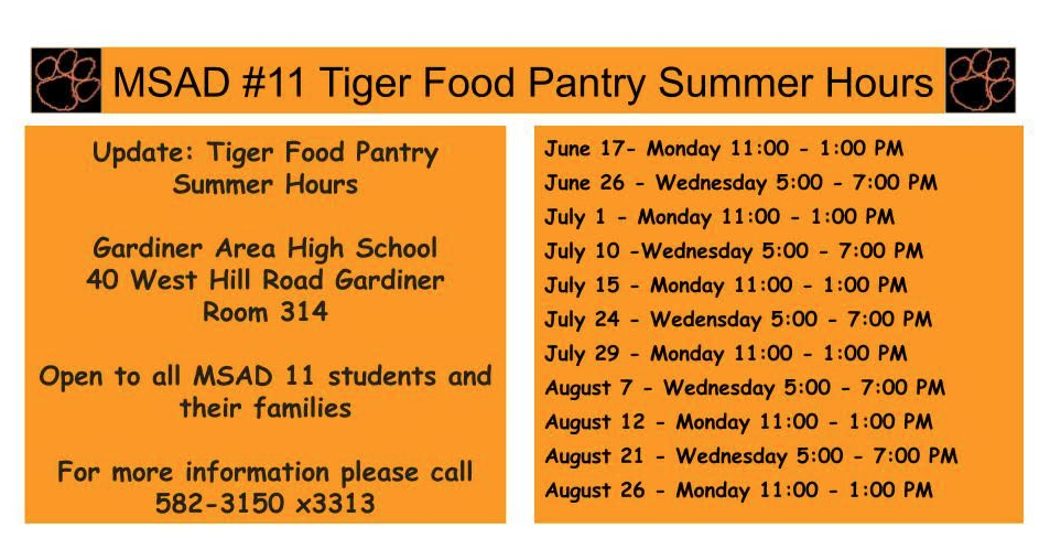 Tiger Food Pantry Summer Hours