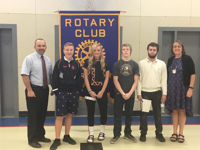 Pictured( L-R)Mr. Kempton, Isaac Gammon, Alyssa Albert, Justin Fowler, Kyle Woods, Ms. Hopkins