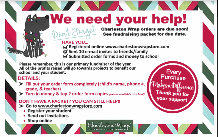 Don't Forget your Charleston Wrap Orders!