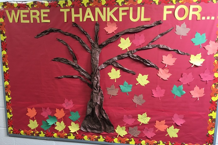 bulletin board with leaves.