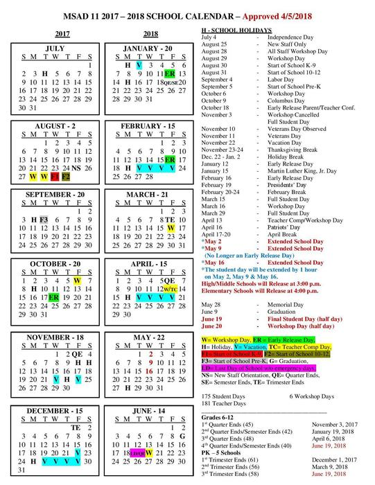 Adjusted 2017-2018 School Calendar