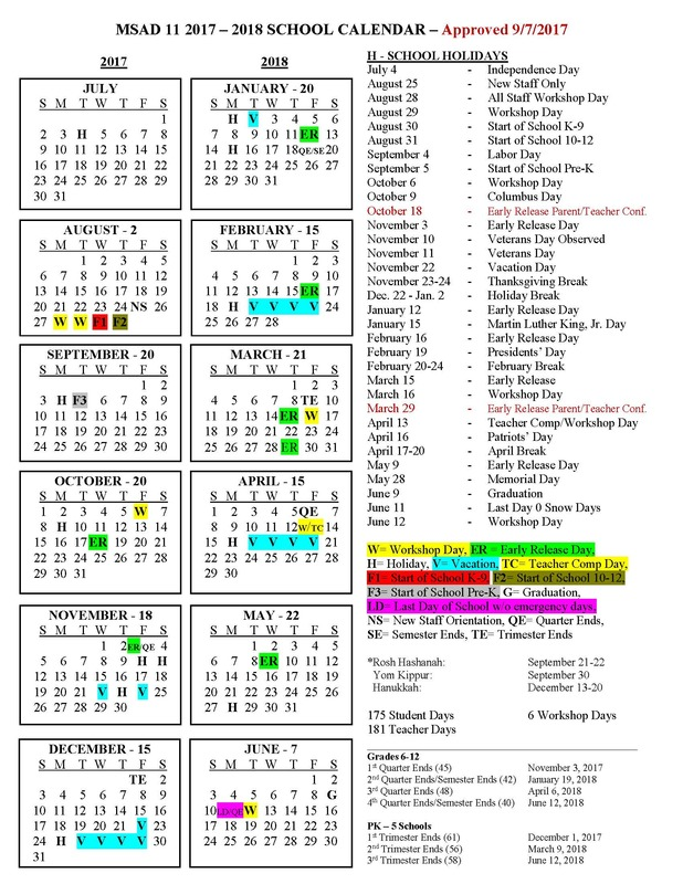MSAD11 School Calendar REVISED 2017-2018